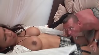 Femboy Thayssa rapaciously eating one cock and stroking her own