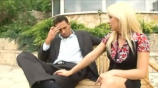 Naughty Blonde And Her Man Gets Slammed In Wild Threesome