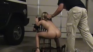 Foxy cowgirl with bdsm fetish gets drilled with a huge toy