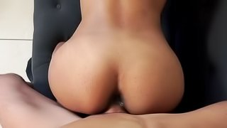 Young amateur ebony with shaved pussy, fucks for cash