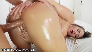 HardX Curvy Blonde Beauty Oils Up for Drilling