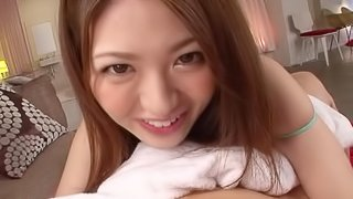 Up close video of Azusa Akane getting her hair pie hammered