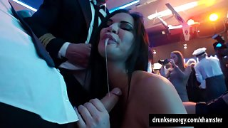 Horny pornstar suck two dicks in club