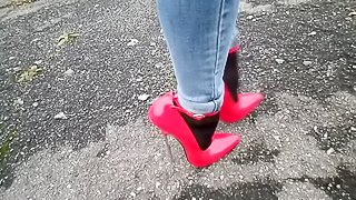 18 inch Red Sexy High Heels Stiletto Shoes Wearing Women Walking