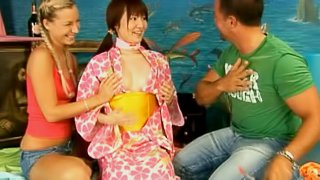 Asian stunner joins lewd tourist couple for a spicy ffm threesome