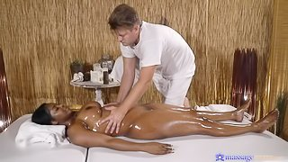Big-boobed ebony Jasmine Webb fucks with a white masseur