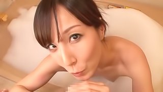 Lustful Asian threesome squeeze into the bathroom for a hot ffm
