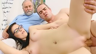 First time fuck while daddy is watching
