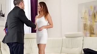 Taylor Sands is a honey in a white dress ready to ride a fat prick