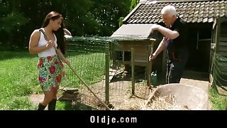 Old man and young babe fucking in the farm