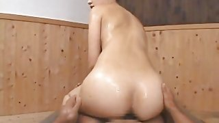 SEXY ASIAN BABE giving NURU SEX MASSAGE and RIMMING