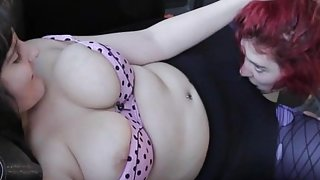Busty lesbian gets her hairy cunt licked