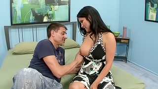 Well-endowed brunette Sophia Lomeli gets her pussy and butt drilled