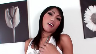 Amazing Asian shemale delivers a rather fantastic blowjob