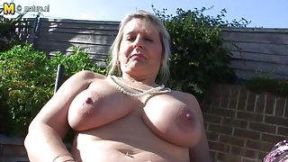 HOT big breasted mature mother in the garden