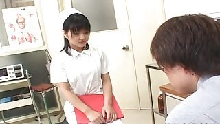 Doctor fondles and licks sexy Japanese nurse