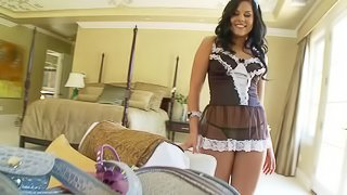 Mini-skirt clad maid with a sexy body enjoying a hardcore anal fuck