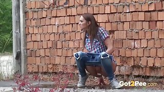 Girls peeing in public and making a sexy mess