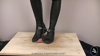 Riding Boot Cock Crush and Crop Toture