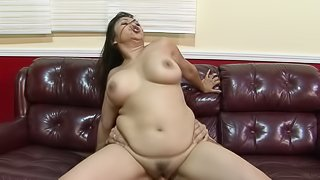 Naturally busty Asian girl gets mouth fucked at job interview