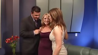 Two busty milfs make all this dude's dreams come true