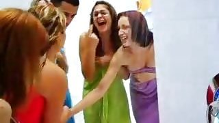 Lots of girls bust guy in shower and laugh at him