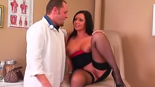 Endearing brunette with big tits enjoying her ass being licked then getting drilled hardcore