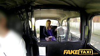 FakeTaxi: Blond with large natural scoops makes additional specie