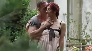 Hot redhead with natural tits and small nipples is getting penetrated