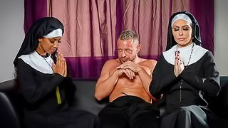 Two slutty nuns Jessica Jaymes and September Reign VS big dick