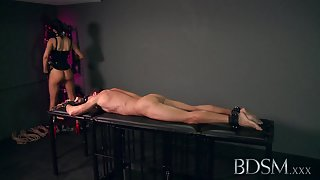 Sexy Mistress loves teasing her sub boys hard cock while he's handcuffed
