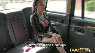 British busty woman gets fucked hardcore inside a cab