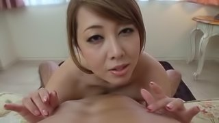 Cum hungry Japanese beauty milking a pecker in saucy pov shoot