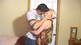 Radiant amateur blonde babe in high heels getting hammered doggy style after giving a blowjob