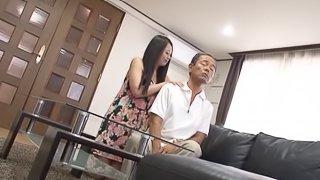 Busty Japanese bitch masturbates and lets a man watch her