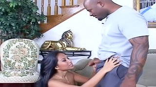 Adorable Nyomi Marcela rides BBC and gets jizzed on her titties