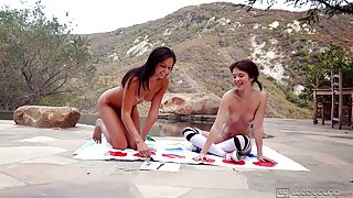 Teen lesbians play twister and do sensual cunnilingus