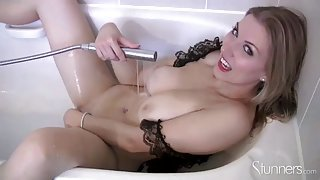 Playful mature slut with massive tits fondles her sweet cunt