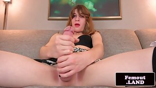 Solo femboi toys her ass while wanking cock