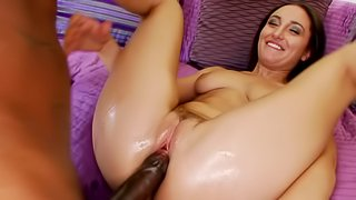 White cunt creams and cums on a long black dick inside it