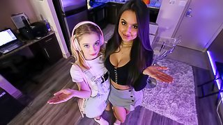 Two talented babes Eliza Ibarra and Anastasia Knight share a big dick