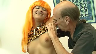 Horny old man teaches this lovely blonde an experienced sex