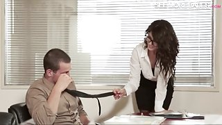 Gorgeous office girl Alexa Tomas in glasses fucked real hard