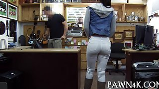 Black babe gets her hands on a pawn shop cock