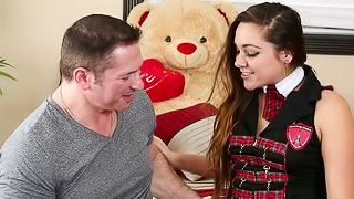 A cute college girl in her uniform gets fucked by her tutor
