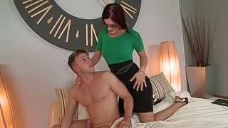 Mira wears thigh high stockings while a guy ass fucks her