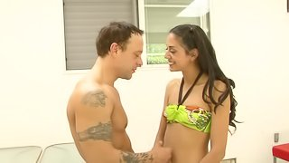 Slim brunette cutie Lyla Storm gets her pussy and butt drilled hard
