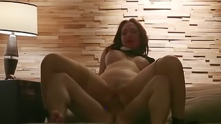 Sexy woman receives pleasure thanks to hard cock and vibrator