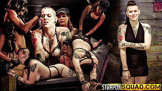 Jynx Hollywood Begs for Double Penetration with Mena Li and Lexy Villa - StrapOnSquad