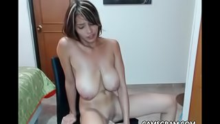 Hottest Huge-Boobed Model Playing Alone